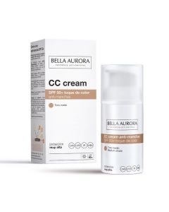 bella aurora cc cream  protector facial anti-manchas f-50+ tono medio  30 ml