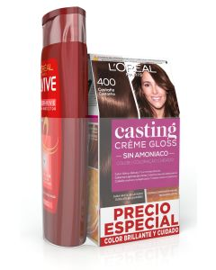 casting creme gloss  tinte sin amoniaco 400 castaño + elvive champu 285ml. color vive (pack)