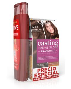 casting creme gloss  tinte sin amoniaco 500 castaño claro + elvive champu 285ml. color vive (pack)