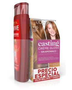 casting creme gloss  tinte sin amoniaco 700 rubio + elvive champu 285ml. color vive (pack)