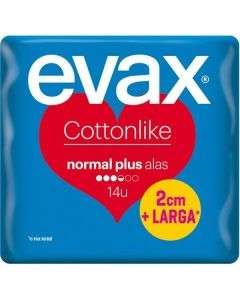 evax cottonlike compresas  alas 14 ud normal plus 2cm+larga