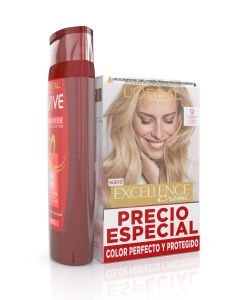 excellence  tinte con amoniaco 9 rubio muy claro + elvive champu 285ml color vive (pack)